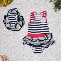 2016 Happy Kids Girls Swimwear Sailor Bikini Spa Dress Купальник Hat Dark Blue Summer