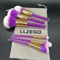 Wholesale Crystal Violet - Llzego Pro 6pcs  Set Violet Crystal Diamond Makeup Brushes Powder Foundation Eyebrow Face Make Up Set Cosmetic Brush Tool Kit