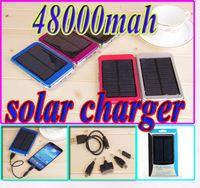 Wholesale Solar Panel Iphone Usb - 48000mah solar charger power bank Dual USB ports 48000 mah solar panel 5V 2.1A 1.5W Travel battery for iPhone Samsung High Capacity