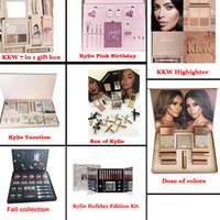 Wholesale Color Gift Boxes - KKW Kylie Vacation Pink Birthday Holiday Box of Kylie Dose of Color Desi X Katy Christmas Edition Bundle Makeup set Gift Box of Eyeshadow