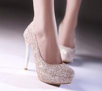 weißgold fersen fersen großhandel-Glitter Lady Spring Dress Schuhe Stöckelabsatz Plattformen Weißgold Hochzeit Kleid Schuhe funkelnden Nachtclub Party Prom Schuhe
