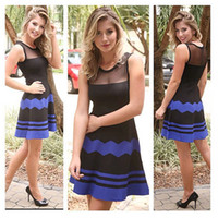 Wholesale Celeb Black Spandex Dress - Women Sexy Mesh Patchwork Dress 2015 Black Blue Striped Dress Sleeveless Casual Dress Slim Celeb Prom Party Dresses Vestidos XL