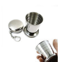 Wholesale Glasses Folding Mini - 75ML Portable Camping Folding Collapsible Cup Telescopic Mini Portable Stainless Steel Travel cup