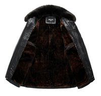 Wholesale Middle Age Mens Leather Jackets - Fall-2015 new arrival middle-aged leather Fur collar Detachable Solid Thick leather jacket mens plus size XL-7XL Fashion male