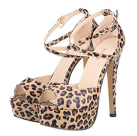 Wholesale Leopard High Heels Peep Toe - 2016 Hot Style Sandals ultra thin foot fashion show white bride shoes super high heels leopard grain shoes 817-8