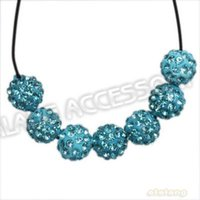 60pcs / lot gros de haute qualité strass bleu Polymer Clay ronde 9mm Fashion Spacer Perles Fit Bijoux Findings112469
