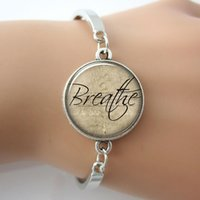 Wholesale Glass Identification - Wholesale-Breathe bracelet,Glass Cabochon Dome Inspirational Word Charm Bracelet,Motivational Quote Jewelry,Letter Bangle For Gift
