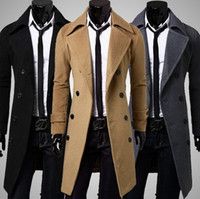 Wholesale Men Double Breasted Coat Sale - hot sale long wool coat mens double breasted trench coats Wholesale men simple luxury men overcoat Free shipping