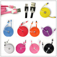 Wholesale I Phone Noodle Cable Charger - NEW 1M 2M 3M Micro V8 Noodle Flat Data USB Charging Cords Charger Cable Line for i 5 5C 5S 4 4s Samsung Android Phone MQ100