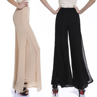 Wholesale High Waist Bootcut Legging - pantalones mujer 2015 Summer women casual Split chiffon pants ladies Loose high waist wide leg trousers palazzo baggy pant 6xl