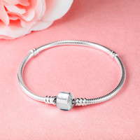 Wholesale Stocking Charm - (In stock)Factory Wholesale 925 Sterling Silver Bracelets 3mm Snake Chain Fit Pandora Charm Bead Bangle Bracelet Jewelry Gift For Men Women