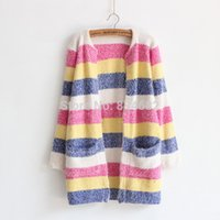 Wholesale Rainbow Stripe Sweater - New Spring Autumn Winter Women Sweaters Rainbow Colorful Stripes Knitted Female Tricotado Cardigan 2014 Women Fashion Outerwear