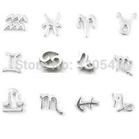Wholesale Charms Locket Sell - Wholesale-2015 hot selling floating charms silver floating charms for glass locket ,alloy zodiac symbols floating charms