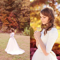 Wholesale Dress Lace Elbow Sleeve - 2015 Wedding Dresses Christmas gowns Designer Simple Scoop Lace Tulle Western Country Modest Wedding Dresses Bridal Gowns with Elbow Sleeves