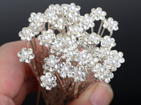 Wholesale bridal hair flower - 40PCS Wedding Accessories Bridal Pearl Hairpins Flower Crystal Rhinestone Hair Pins Clips Bridesmaid Women Hair Jewelry