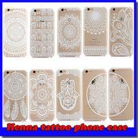 Wholesale Iphone Dream - Henna White Floral Paisley Flower Mandala Elephant Dream Catcher PC Back phone Case Cover For iPhone 4 5 6 7Plus Samsung