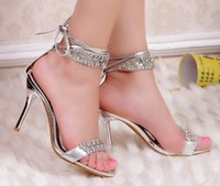 Wholesale Open Toe Diamond Ankle Shoes - Hot sell New style diamond silver Wedding Shoes high heel dress shoes open toe shoes evening party bridal shoes kingming618