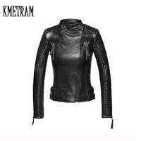 Wholesale Plus Size Woman Leather Jacket - Wholesale- 2017 100% Sheep Skin Jacket Oblique Zipper Plus Size Parka Fashion Trendy Slim Leather Jacket Women Coat Casaco Feminino GQ1296