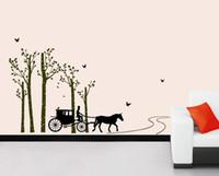 pegatinas de pared de animales del bosque al por mayor-Transporte en el bosque Wall Art Mural Decor Sticker Pájaros en el bosque Living Room Tatuajes de pared Home Decor apliques de pared