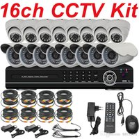 Wholesale Low Price Security Camera Systems - Whole set cctv system factory low price 16ch cctv kit security surveillance ccd board lens camera 16ch full D1 HD DVR digital video recorder