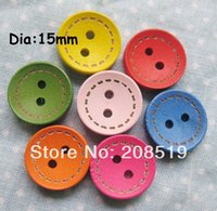 Wholesale Craft Wood Buttons Bulk - WB0119 bulk craft buttons 15mm Sewing Buttons mixed colors 3000pcs lot painted wood buttons Scrapbooking