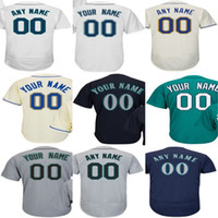 Wholesale Womens Army Shorts - Cheap Custom Seattle Mens Kids Womens baseball Jerseys Personalized Any Name NO.Flex base Cool Base Cream Green Navy Grey Baseball Jerseys