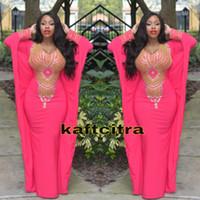ingrosso abiti da sera rosa oro-2016 Hot Pink Fuchsia maniche lunghe Dubai Evening Dress Morrocan Kftan Perline oro strass Spandex Ankara Prom Dresses Abiti Longo