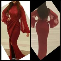 Wholesale Summer Dresses Sexy Body - Glamorous Mermaid Evening Dresses Sexy Burgundy High Neck Illusion Long Sleeves Lace Body High Slits Pleated Sweep Train Prom Party Dress