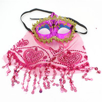 Wholesale Belly Dance Masks - Belly Dance Sexy Princess Mask Color PVC Lace Secret Women Mask with Veil Masquerade Party Decoration Festive Supplies 20pcs lot SD428
