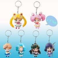 Wholesale Christmas Gift Sets For Kids - Hot 6pcs set Sailor Moon Keychains Action Figures PVC Collection toys for christmas gift brinquedos ToyO00172