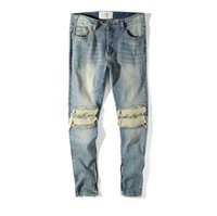 ingrosso jeans cerniera per uomo-Jeans con design a foro per uomo Cerniere con gamba a toppa Design Pantaloni Kanye Biber Style Jeans lavati azzurri Pantaloni a matita lunghi