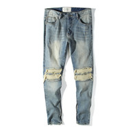 jeans projeta pernas venda por atacado-Jeans Design Buraco para Homens Zíperes de Pernas Remendadas Design Calças Estilo Kanye Biber Azul Claro Lavado Jeans Calças Lápis Longas