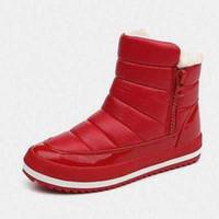 bot içeride kürk toptan satış-Kadınlar Kış Çizmeler Yeni Marka Su Geçirmez Ayakkabı Kadın Kar Botları Kürk Peluş Içinde Zip Artı Boyutu Sıcak Kadın Çizmeler