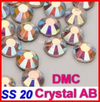 ingrosso vetro dmc-All'ingrosso-SS20 1440pcs / Bag Clear AB Crystal DMC HotFix FlatBack vetro Strass strass, ferro trim sul trasferimento di calore Hot Fix pietre di cristallo