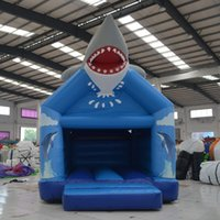Wholesale Cheap Small Inflatables - AOQI inflatable toy cheap blue shark cartoon inflatable bouncer baby toy small inflatable house bounce for sale