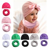 Baby Rabbit Hats Sets Outono Inverno Soft Warm Cap For Infants Trendy Newborn Girl Bunny Ear Beanie Hat com O Ring Scarf