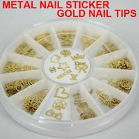 Wholesale Gold Metal Sticker Slices Wheel - 180pcs Gold Nail Art Metal Sticker Decoration Acrylic Tips Metal Slice Wheel Tiny sticker 15pcs style Mixed Design + Wheel