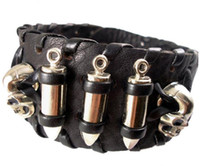 Wholesale Fashion Studs Belt - 2013 trendy fashion handmade woven braided punk skull head bullet stud belt buckle wide unisex mens leather bracelets jewelry