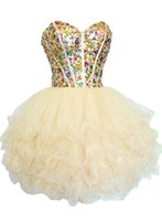 Wholesale Rhinestone Lilacs Brooches - Sexy Sweetheart Ball Gown Short Homecoming Dresses 2015 Beaded Crystals Rhinestones Mini Graduation Dresses Tulle Short Party Dresses