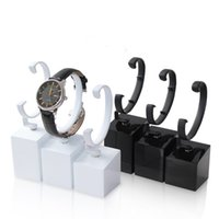 Wholesale jewelry holder stand for rings - Lacquer Paint Watch Display Stand Black Cubic Base with Elastic C Ring Wrist Watches Bangle Holder for Shop Showcase Trade Show