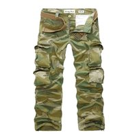 Wholesale Loose Army Pants - 2015 New Summer Mens Fashion Army Camoufl Multi-pocket Pants Loose Casual Outdoor Long Cargo Trousers Korean Style Male Overall FG1511