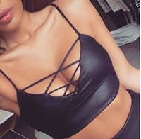 Women Camis Solid Women's Sexy Leather Camisole Vest bra top bandage bundled bustier crop top tank vest camisole tube bra