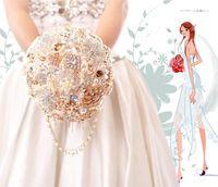 Wholesale Satin Beadwork - 2016 Brooch Waterfall Wedding Bouquet Free Shipping The Simulation Wedding The Bride Bouquet Beadwork Beautiful Beaded And Crystals