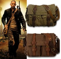 Wholesale Military Canvas Messenger Bag - Wholesale I AM LEGEND Will Smith Canvas Leather Men Messenger Bags Military Army Laptop Satchel Crossbody Bags Women Travel Shoulder Bags