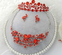 ensembles de bijoux en cristal dames achat en gros de-Livraison gratuite Rouge Cristal Strass Mariage De Noce Tiara Boucle D'oreille Collier Ensemble De Bijoux Partie De Madame Accessoire De Mariage