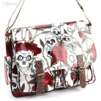 Wholesale Skull Rose Bag - Wholesale-Skull Rose Print Buckle Pocket Oilcloth Shoulder Gag Women Handbag School Bag A4
