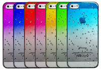 Wholesale S3 Case Raindrop - Ultra-thin 3D rain drop water raindrop hard back cover semi-transparent colorful phone case for iphone 4 5 6 Glasxy S3 4 5 6
