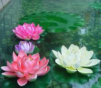 künstliche blumen wasserlilien großhandel-Künstliche Blumen EVA Schaum Wasser Lilie Lotus Simulation Replik Teich Waterlily Bunte Perfekte Dekoration Taufe Hochzeit Dekoration