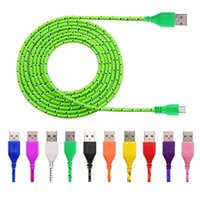 Wholesale Hdmi Data - 1M 2M 3M Nylon Braided Micro USB Cable, Charger Data Sync USB Cable Cord ForAndroid and All Cellphone 10 Colors Available