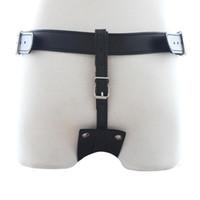 hombre bondage butt plug al por mayor-151204 Arnés de cuero Pantalones de castidad Restricciones Bondage Hombre Cinturón de castidad Butt Plug Juguetes sexuales para hombres Productos de sexo